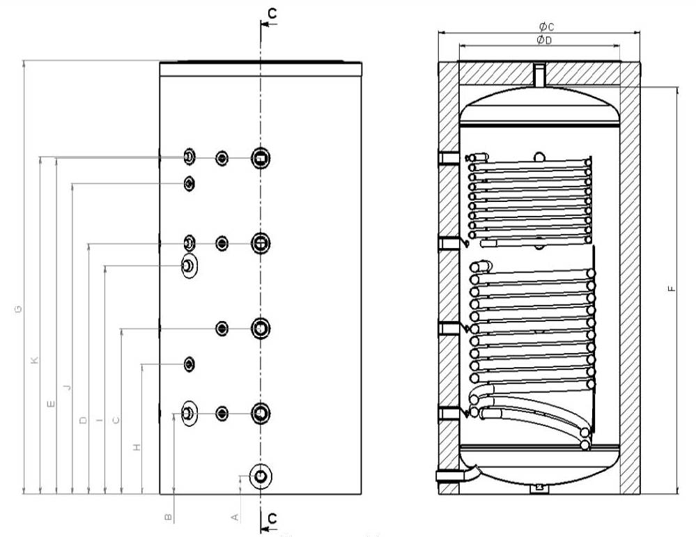 1000 liter pufferspeicher mit 2 w rmetauschern g2 energy systems. Black Bedroom Furniture Sets. Home Design Ideas