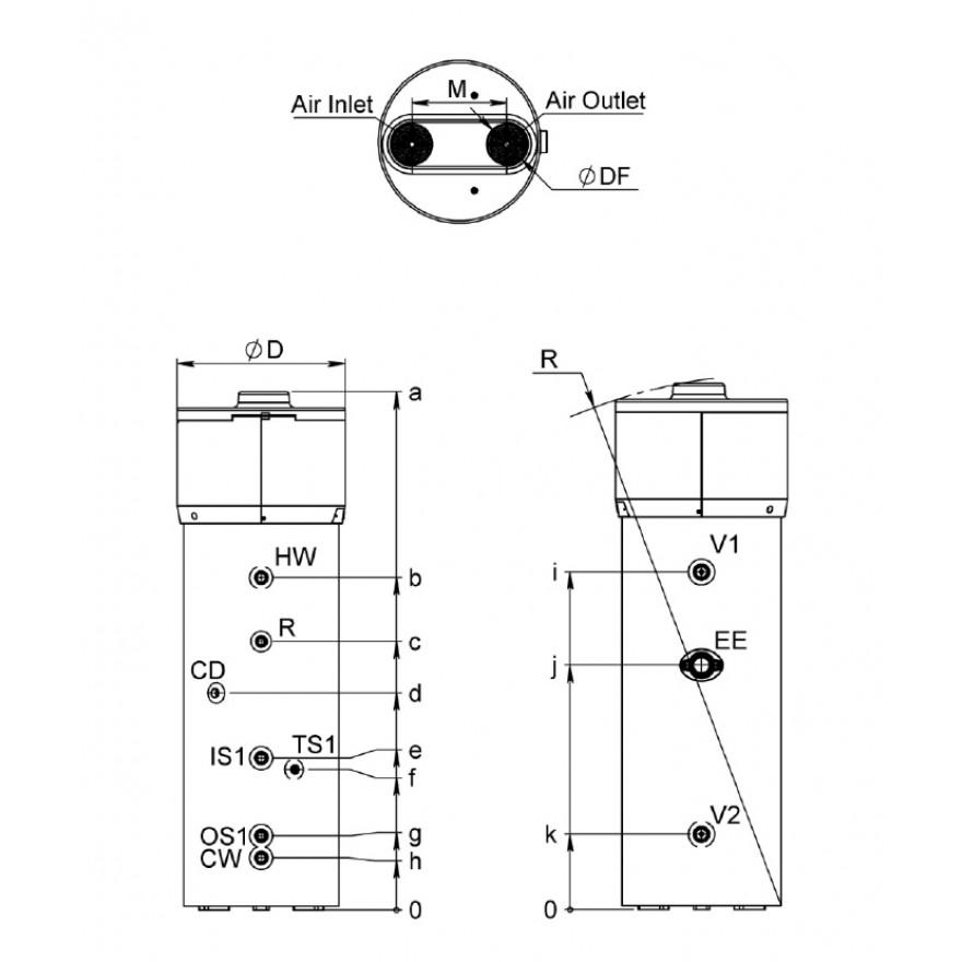 luft wasser w rmepumpe es hp 260 l liter mit w rmetauscher wasser heizung keller. Black Bedroom Furniture Sets. Home Design Ideas