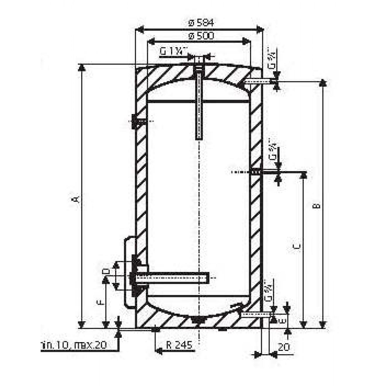 250 Liter elektrische Warmwasserspeicher, Standspeicher mit 2,2 oder ...