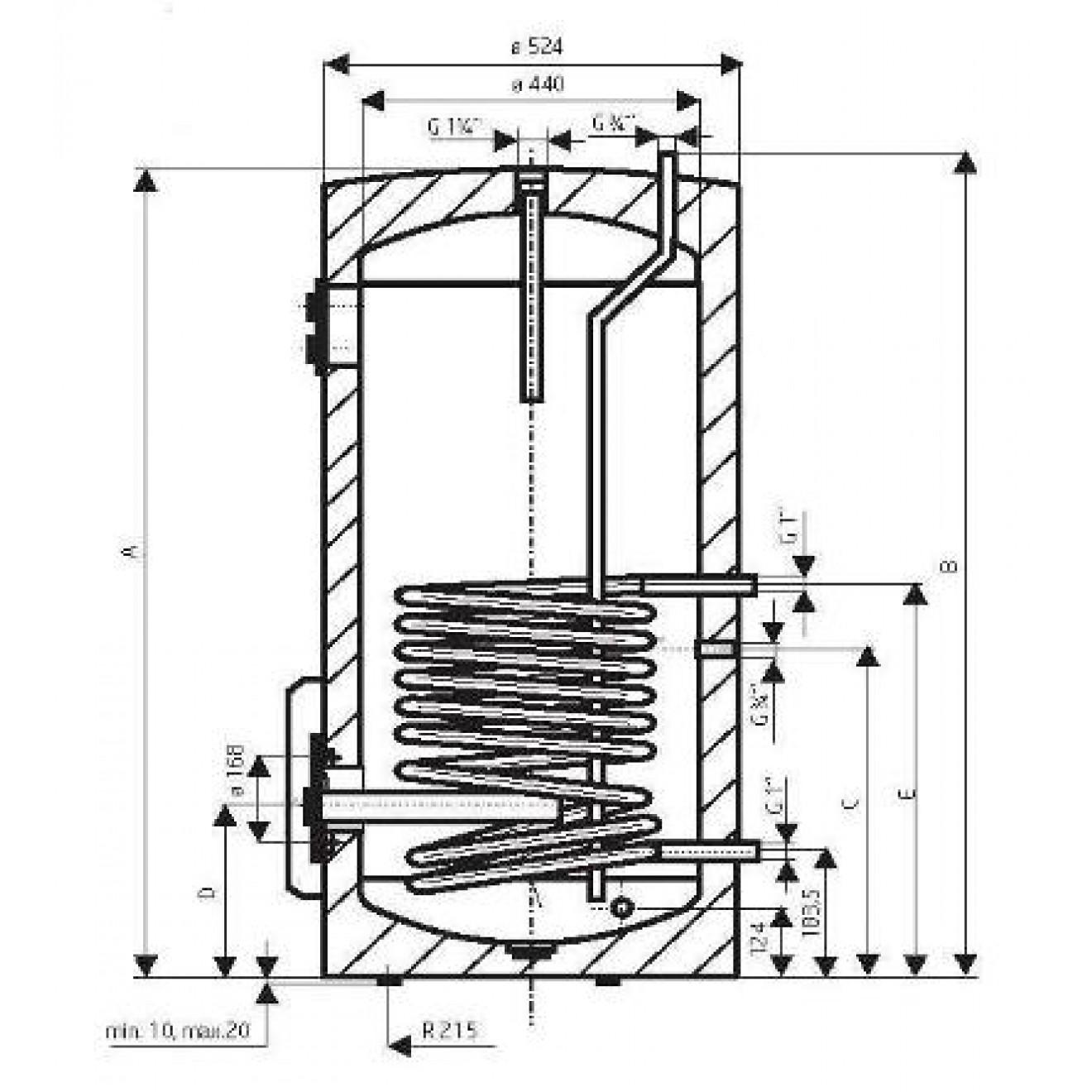100 Liter Warmwasserspeicher mit 1WT und 2,2 kW Keramikheizstab ...