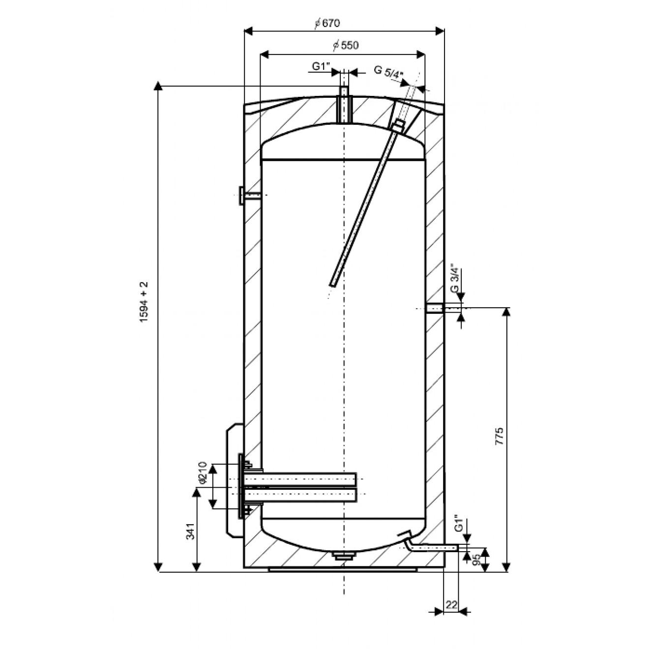 300 Liter L elektrischer Warmwasserspeicher Boiler Elektrospeicher ...