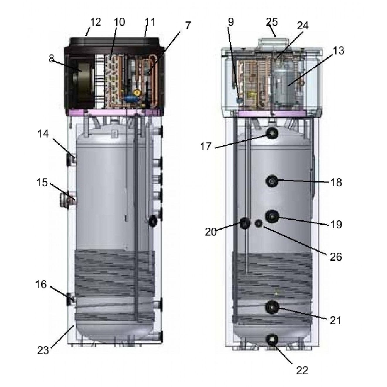 luft wasser w rmepumpe es hp 260 l liter mit w rmetauscher. Black Bedroom Furniture Sets. Home Design Ideas