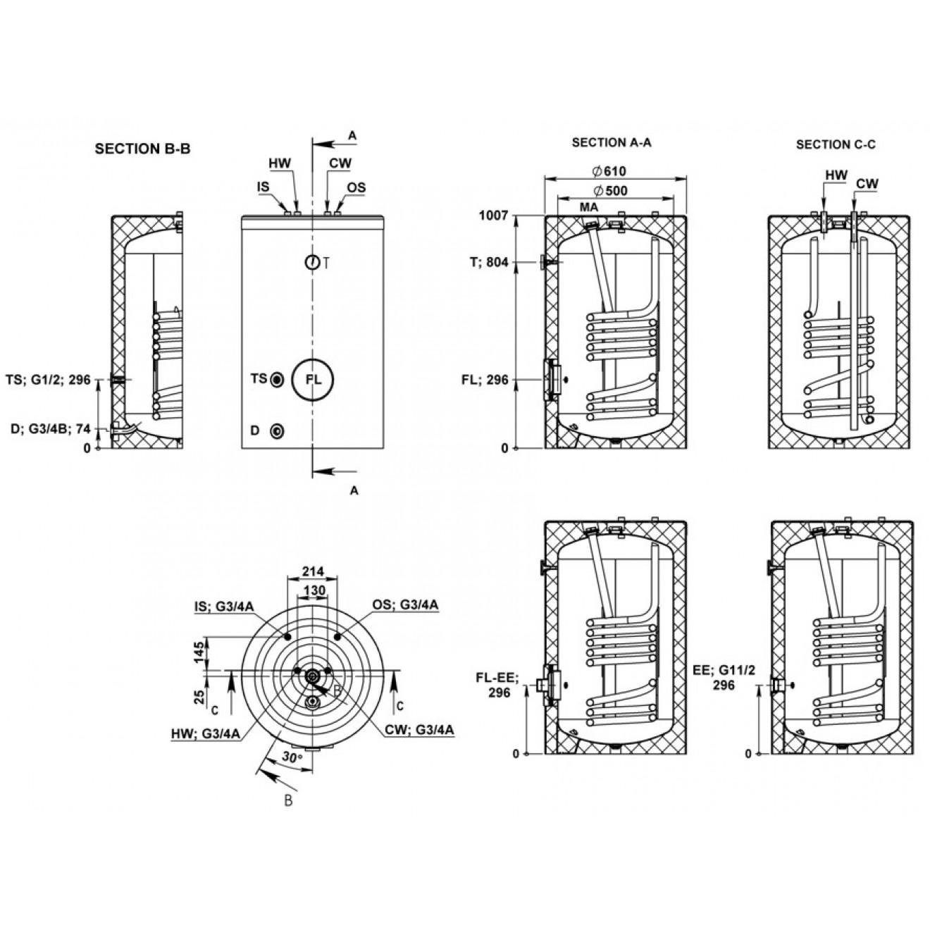 160 Liter Warmwasserspeicher, Elektrospeicher,
